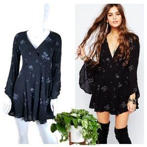 Free People Jasmine Embroidered Mini Dress Black